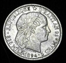 1894 Haiti 20 Centimes Silver A36-301