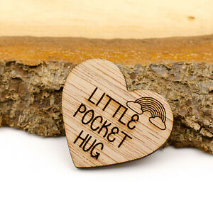 Little Pocket Hug Wood Heart Token Miss You Note Isolation Love NHS Rainbow Gift