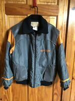 Vintage Skidoo Bomber Leather Nylon Ski Snow Jacket Grey/Orange Mens 40 Canada