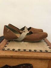 El Naturalista Leather Flat Shoes with Natural Strap Size UK7/EU40 - Med Brown