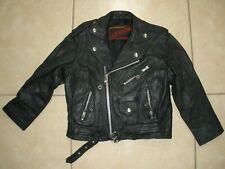 Youth Size Medium Black 100% Black Leather 2000 Motorcycle Biker punk Jacket