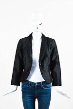 Carmen Marc Valvo NWT $545 Black Silk Cotton Sequin Trim Blazer Jacket SZ 8