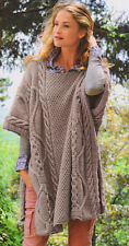 Aran Cabled Poncho Variety of Stitches & Cables ~ One Size  Knitting Pattern