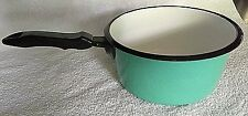 Aubecq Depose 2 Qt Sauce Pan Bright Mint Green Enamel & Metal Made in France #36