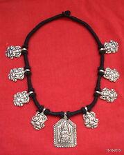 ethnic design silver pendant necklace hindu god ganesh laxmi india