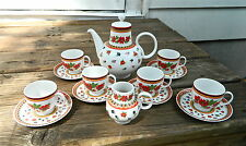 "13-PIECE DEMITASSE SET OF HEINRICH/H & C ""GYPSY"" PATTERN BAVARIAN FINE CHINA"