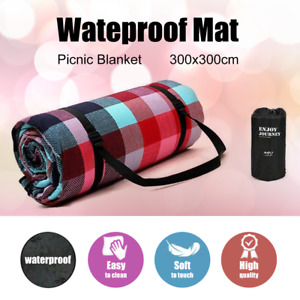 3m*3m Extra Large Picnic Blanket Mat Cashmere Waterproof Rug Outdoor Camping AU