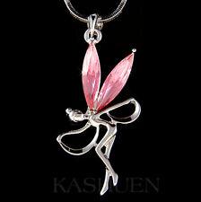 w Swarovski Crystal ~Pink Fairy Tinkerbell Tinker ANGEL Dancer Necklace Jewelry