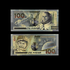 24K Gold Banknotes Astronaut Russian 100 Rubles Paper Money Bill for Gifts
