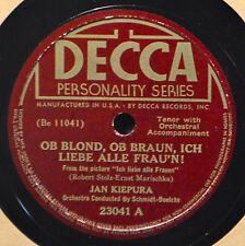 Jan Kiepura Ob Blond Braun Ich Liebe Alle Fraun 78 Operatic Tenor Decca 23041