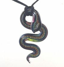A Dichroic Multi-Coloured Glass Snake  Necklace  N1155g  d0214