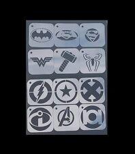 1 Conjunto de 12 un. Superhéroes Batman Superman Mujer Maravilla de logotipos aerógrafo de plantilla