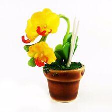 Yellow Orchids Clay Flower Ceramic Pot Dollhouse Miniature Tiny Handmade 1