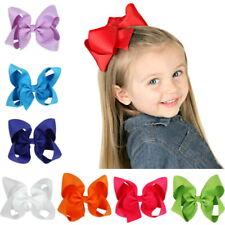 "12Pcs 4.5"" Baby Girls Huge Grosgrain Ribbon Boutique Hair Bows Kids Hair Clip"