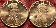 1988-P Philadelphia Mint Lincoln Memorial Cent BU -Lot Of Two.