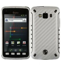 Skinomi Carbon Fiber Silver Skin Cover+Clear Screen Film for Samsung Rugby Smart