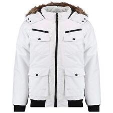 Twisted Soul da Uomo Ragazzi Bianco Bomber Jacket Coat Imbottito Caldo Giacca Small Nuova