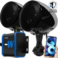 Waterproof Bluetooth Amplifier Motorcycle ATV Speakers Stereo Audio Radio System