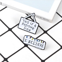 2pcs/set Stranger Things Positive Sign Enamel Pins Badges Brooches Badges Lapel