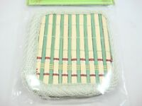 Set of 4 serving Glass Green Beige Bamboo Coasters Fabric Lining New