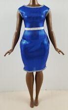 New Mattel Barbie Doll Fashionistas Curvy Blue Shimmery Clothing Dress Fashion