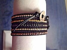 AUTHENTIC CHAN LUU MultiPlated STERLING NUGGET MIX  Leather 5XWrap BRACELET CL7B