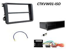 VW POLO EOS JETTA BLACK SINGLE or DOUBLE DIN FASCIA FITTING KIT ISO CONNECTION