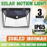 208LED ad Energia Solare Muro Luce Sensore di Movimento Giardino Esterno 3 Lato
