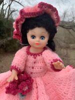 "Crocheted Doll Dress Pink Black Victorian Edwardian Crochet & Hat 16"" DOLL ❤️m9"