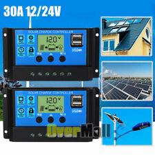 2x 30A MPPT Solar Panel Regulator Charge Controller 12V/24V Auto Focus Tracking
