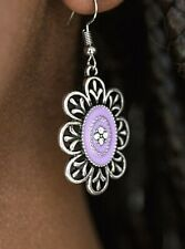 Paparazzi Posy Party Purple with Clear Rhinestone Accents Earrings