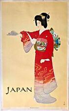 "Vintage Japan Travel Poster ""Prelude"" by Shoen Uemura Japanese Geisha in Kimono"