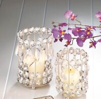 Crystal Drop Candleholders, Small & Large, Iron, Crystal (LED Tealight Included)