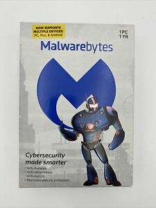 Malwarebytes 1 year/ 1 device, good for PC / Mac / Android Factory Sealed Box