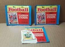 1987 Topps Football Yearbook Stickers - 2 Sealed Packs & 1 Opened