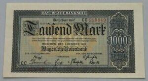 GERMANY 1000 MARK 1922 BAYERN #alb8 261