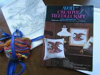 "Avon American Eagle Flag Pillow Kit Crewel Embroidery Vintage 14.75"""