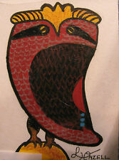 """ORIGINAL ACRYLIC MINIATURE ART ACEO PAINTING BY LJH """"OWL""""    A250"""