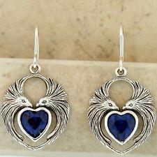 Sterling Silver Syn. Sapphire, #938 Lovebird Earrings Heart Shaped 925