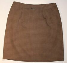 Requirements Tan Plaid Skirt With Gold Embellishment Size 6 Womens Office Casual