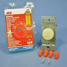 Ace Ivory 3-Way Rotary Knob Push ON/OFF Dimmer Light Switch 600W 120V 60Hz 31868