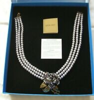HEIDI DAUS BLUE ROSE ELEGANCE SILVER  3 STRAND FAUX PEARL NECKLACE NEW IN BOX