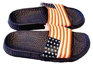 Mens Slip On Sport Sandals Rubber Shower Slippers American Flag Navy 11
