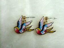 Boucles d'oreilles originales hirondelle swallow oiseau bird old school étoiles