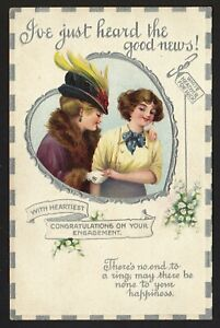 EDWARDIAN ENGAGEMENT CONGRATULATIONS postcard