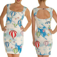AIR BALLOONS SCUBA WIGGLE BODYCON PENCIL DRESS ALTERNATIVE ROCKABILLY VINTAGE