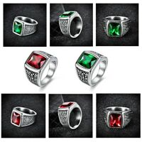 Fashion Mens Stainless Steel Princess Garnet Emerald Celtic Biker Rings Jewelry
