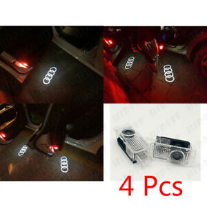 4X For Audi S3 A6 Q7 R8 LED Door Step Courtesy Light Laser Shadow Logo Projector