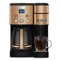 Cuisinart 12 Cup Coffeemaker and Single Serve Brewer w/ 3 Year Warranty   Copper