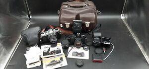 2 Vintage Pentax Asahi 35 mm K1000 & MV Camera Lot ~ x Lens -Timer Strobe & Bag